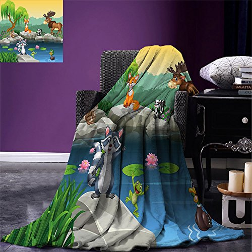 smallbeefly Cartoon Throw Blanket Funny Mascots Animals by the Lake Moose Fox Squirrel Raccoon Kids Nursery Theme Warm Microfiber All Season Blanket for Bed or Couch Multicolor