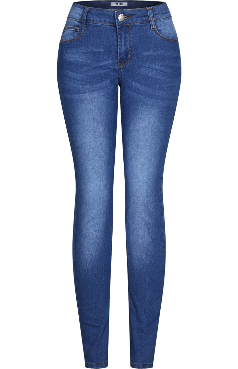8b1da3d00885 Galleon - 2LUV Women s Stretchy 5 Pocket Solid Skinny Jeans Medium Blue  Wash 3