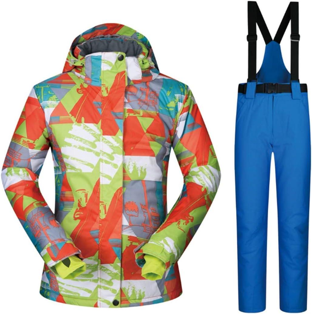 女性のスキージャケット防水 女子スキースノーボードジャケットパンツは防風防水ハイキングウインドブレーカー、スキーは雨のジャケットスーツ雪のジャケットを設定します レディース冬の雪のジャケットレインコート (色 : 04, サイズ : XL)  X-Large
