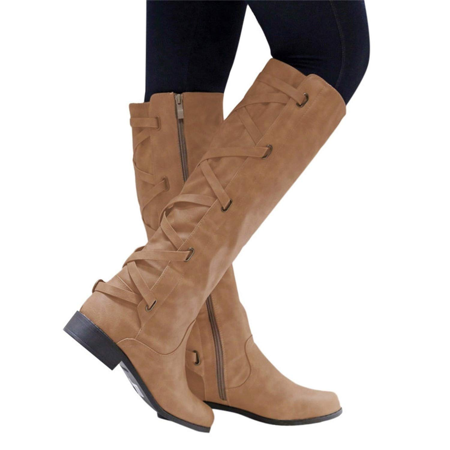 Amazon.com | Botines Shoes Woman Buckle Roman Riding Knee High Cowboy Boot Women Casual Boots Botas, Coffee, 9.5, US | Knee-High