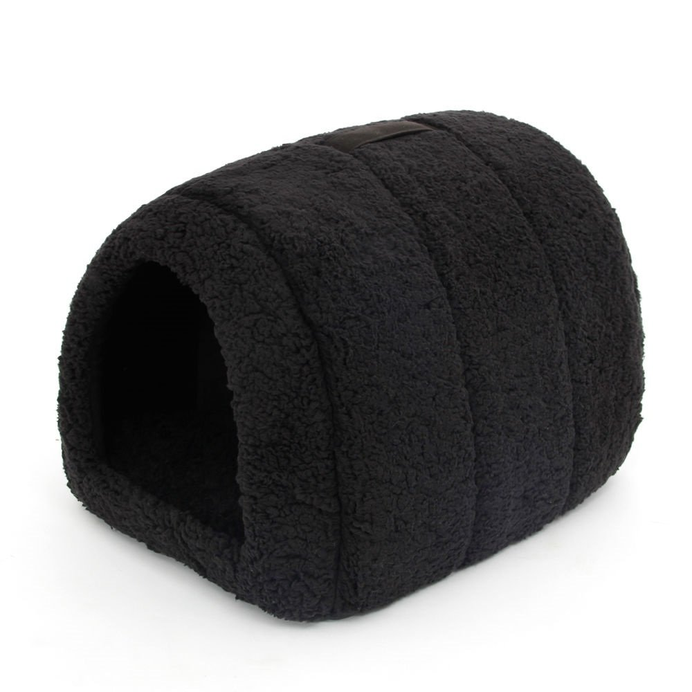 Black Pet Dog Kennel House Cave Igloo Warm House Kennel Puppy Cat Dog Bed Cushion (Black)
