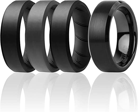 ROQ Tungsten Carbide Band for Special Events Womens Silicone Rings for Work//Sport//Hiking 4 Pack 6mm Brushed Top Style 3 Silicone /& 1 Tungsten Carbide Wedding Rings for Women