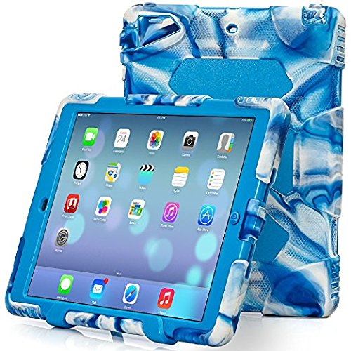 iPad Air 2 Case, Aceguarder® [Shockproof][Drop Resistance][Heavy Duty] Silicone Shock Absorbing Protective Case with Screen Protector and Stand for Apple iPad Air 2-Navy/Blue (Top Ipad Air 2 Cases compare prices)