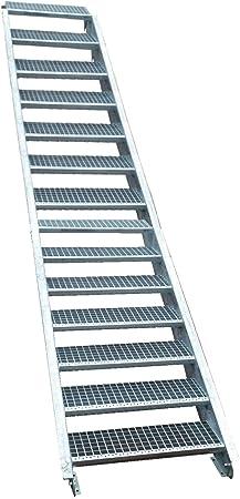 15 Escalera de acero Escaleras/Nivel Planta ancho 110 cm/Altura 250 – 320 cm/Incluye Extremos