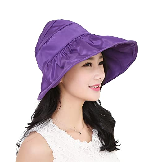 ba97571f71f Image Unavailable. Image not available for. Color  TINKSKY Fashion Wide  Large Brim Sun Hat Summer UV Protection Thin Hat 2 In 1 Beach