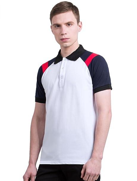 0cc1b21d Allegra K Men Point Collar Contrast Color Short Raglan Sleeves Pique ...