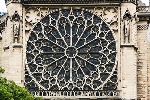 Rose Window of Notre Dame Cathedral Paris France Photo Art Print Poster 36x24 inch