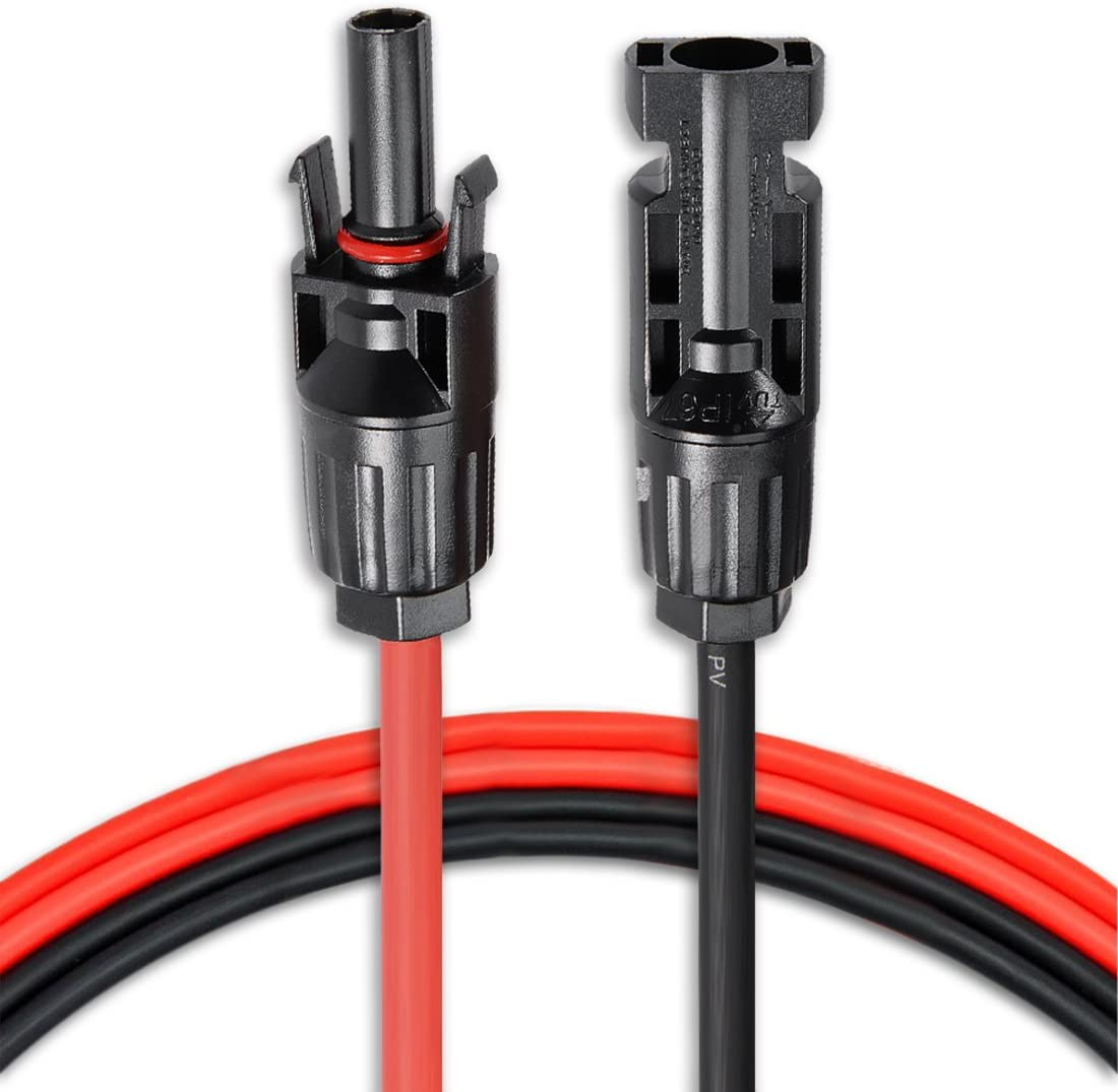 4FT Red + 4FT Black Awclub 4 Feet 12AWG Solar Adaptor Cable Solar Panel Extension Cable Wire Connector Solar Extension Cable with Solar Female and Male Connectors