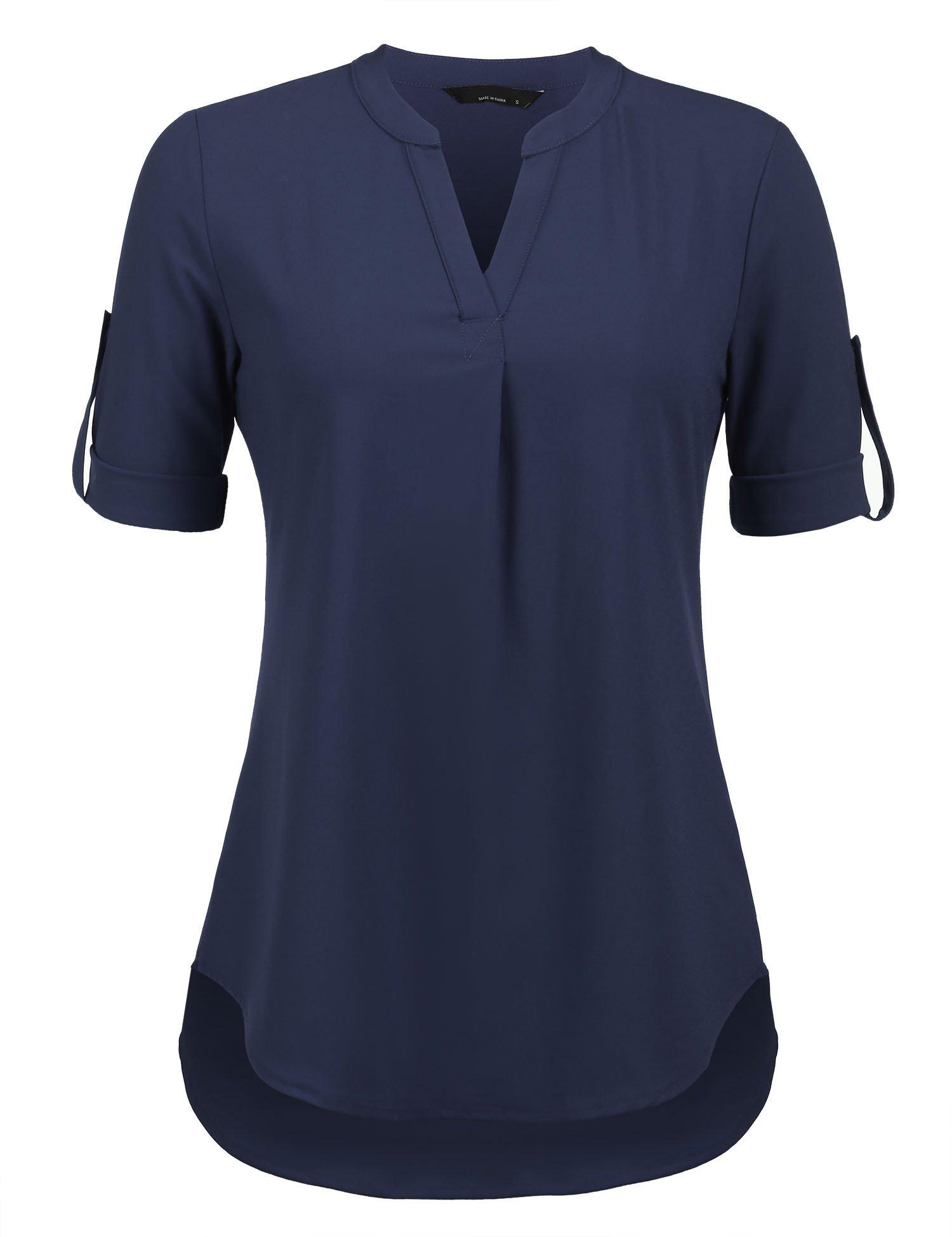Hersife Henley V Neck Shirt Half Sleeve Blouse Business Work Tops for Women Navy Blue,Medium