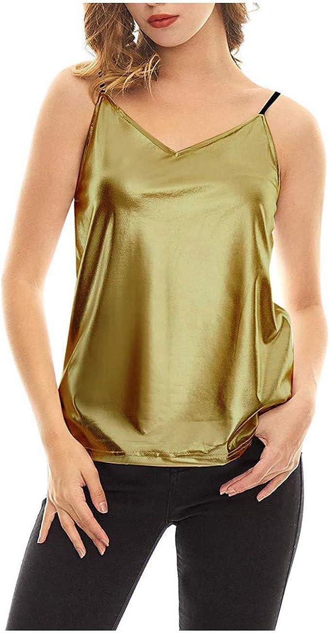 FELZ Camisetas Sin Mangas Mujer Camisola MetáLica Brillante ...