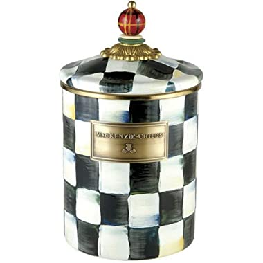 MacKenzie-Childs Courtly Check Enamel Canister - Medium 5  dia., 5.75  tall