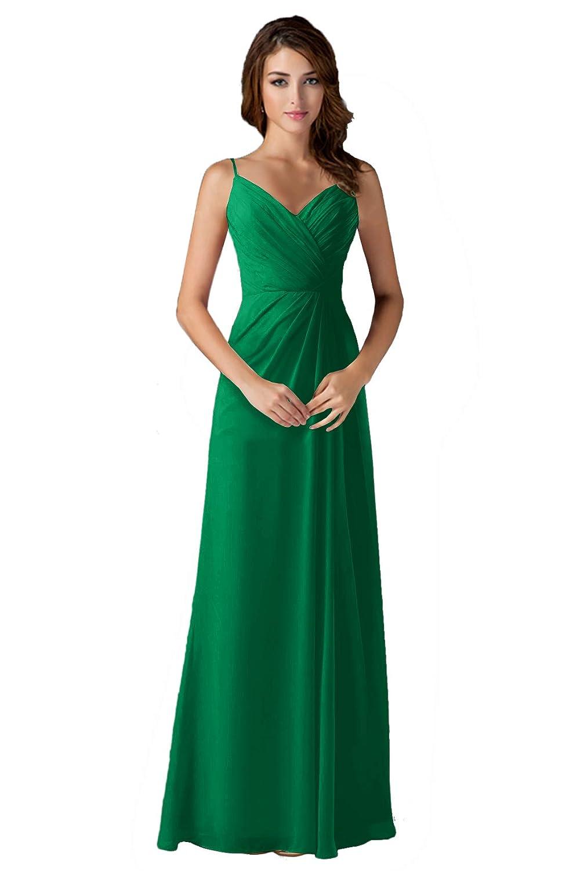 Emerald ANGELWARDROBE V Neck Spaghetti Strap Bridesmaid Dresses Long Wedding Party Gown
