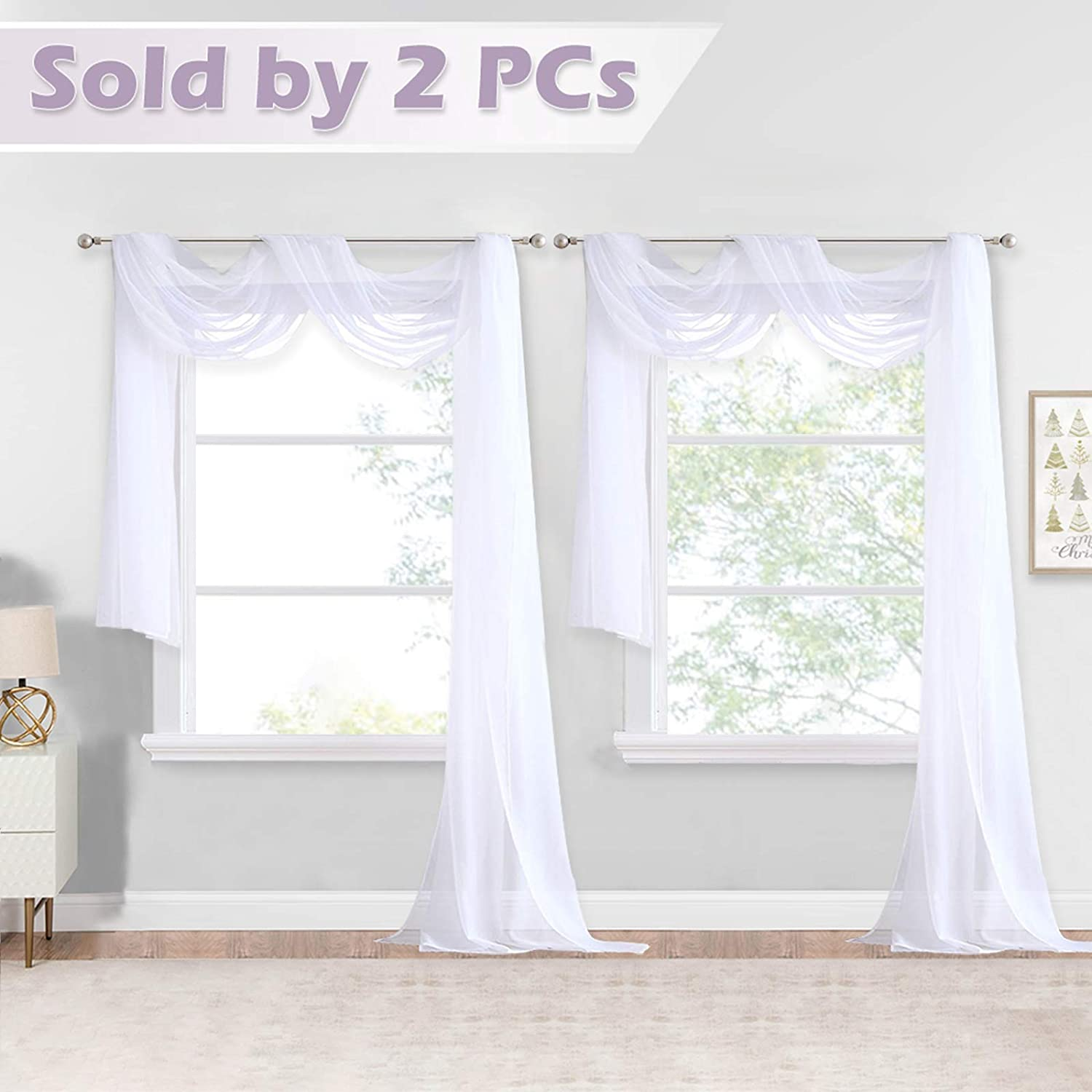 NICETOWN White Sheer Window Scarfs 216 inch Extra Long, Soft Voile Textured Bed Canopy Scarf Curtains for Event Designs / Home Decor, 60 inches Wide, Set of 2
