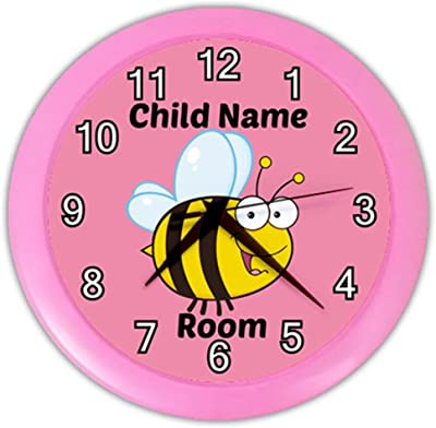Personalized Pink Bee Pink Frame Child Novelty Wall Clock