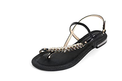 3a56e9c96a65 MARINO Women s Diamonds Sandals Summer Walking Clip Toe Wide Fit Flat Comfy  Shoes Beach