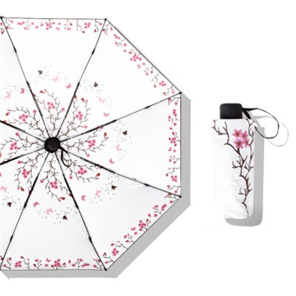 Guoke Compact Mini Vinyl Umbrellas Sunscreen Anti-Uv Light Pocket Fold Umbrella Of Fine White - Red Butterfly