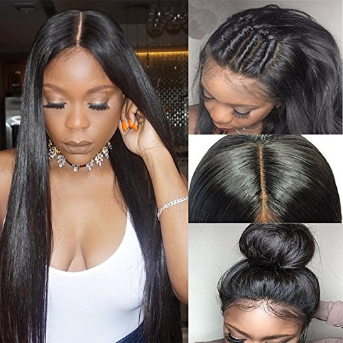 Cospack 8A Glueless Human Hair Full Lace Wigs 130% Density Brazilian Silky Straight Wig With Pre Plucked Baby Hair for Black Women 18 Inch (Band Pre)