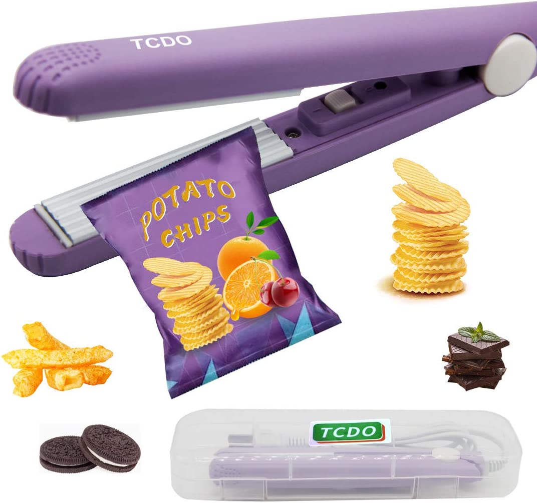 Bag Sealer,Heat Sealer,Chip Bag Sealer,Bag Sealer Heat Seal,Chip Clips,TCDO,Handheld Food Sealer Bag Resealer for Food Storage, Heat Sealer Machine with Smart Switch for Plastic Bags, Chip Bags, Snack Bags,paper crimper,vacuum sealer bags for food.