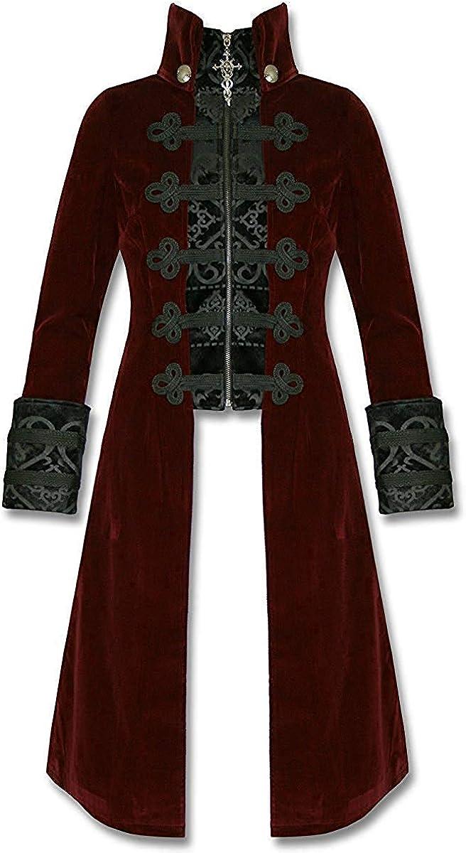 Punk Rave - Chaqueta larga para hombre, terciopelo gótico, estilo steampunk baratheon, color rojo y negro: Amazon.es: Ropa y accesorios