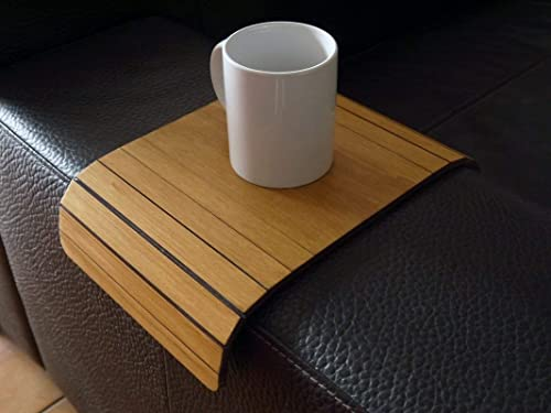 Amazon.com: Wooden Sofa Armrest Table In Many Colors As Light Walnut Small Flexible Over The Couch Side Tables Narrow Folding Dining Slinky Arm Tray Armchair Trays Server Drink Slim Wrap Covers Furniture: