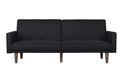 dhp paxson convertible futon couch bed with linen upholstery and wood legs   black amazon    dhp paxson convertible futon couch bed with linen      rh   amazon