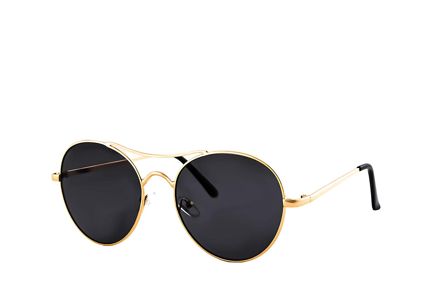 IVOZZO New Round Aviator Style Mirrored Lens Metal Frame Sunglasses