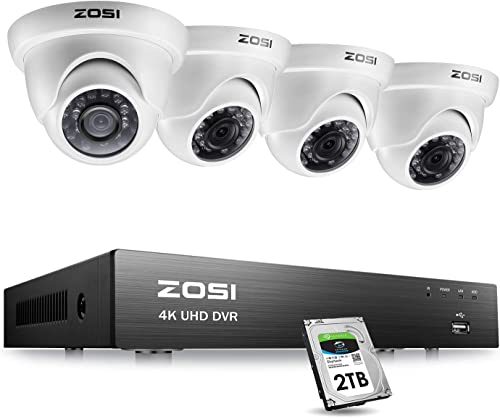 ZOSI 4K Ultra HD Security Cameras System with 2TB Hard Drive, 8Channel H.265 4K 3840×2160 Video DVR and 4PCS 4K 8MP Indoor Outdoor Home Surveillance Dome CCTV Cameras with 150ft Night Vision