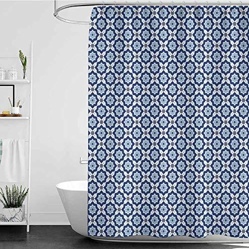 Kids Bathroom Shower Curtain,Moroccan Azulejo Tile Pattern Diagonal Ceramic Pattern Arabesque Star Design Ornament,goof Proof Shower,W72x96L Dark Blue White