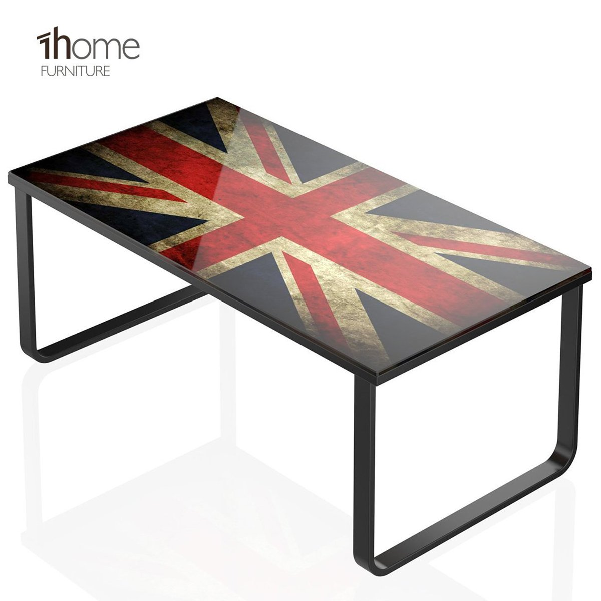 1home GSide Table/Coffe High Gloss Tempered Glass Union Jack Printed ...