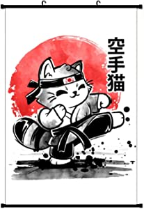 Karate Cat Wall Scroll Poster Home Decor Artwork Hanging Painting Art Print Painting for Living Room Office Fans Gift 16x24 Inch