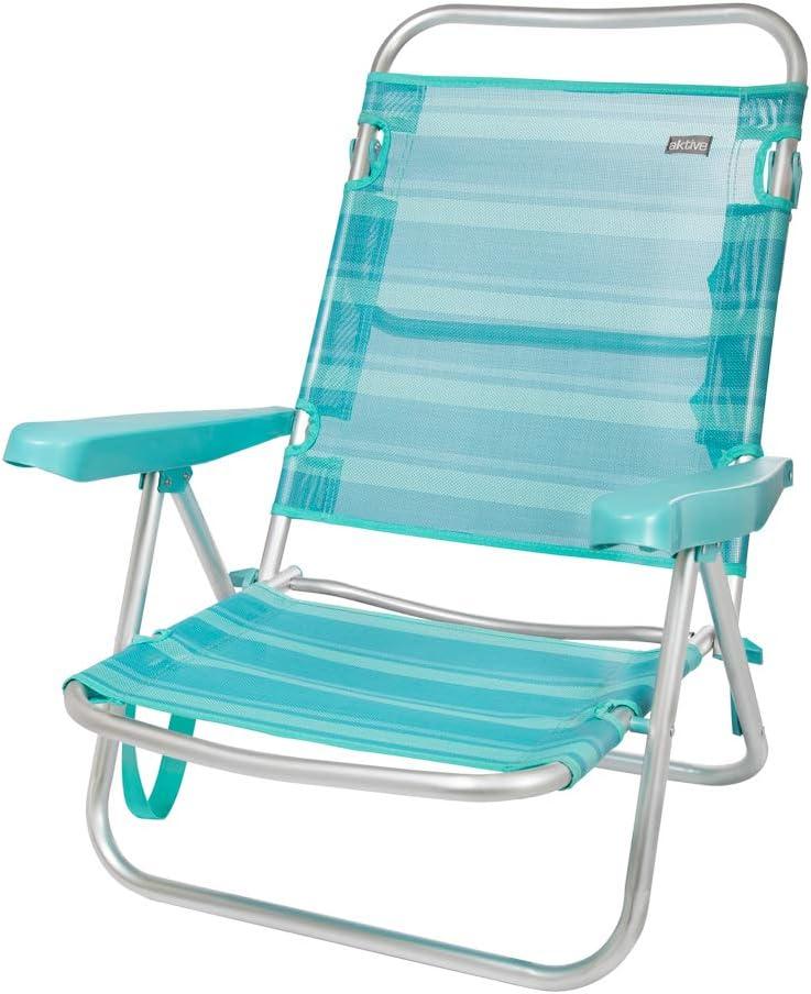 Aktive 53962 Silla multiposición aluminio Beach, 108 x 60 x 78 cm Azul mediterráneo