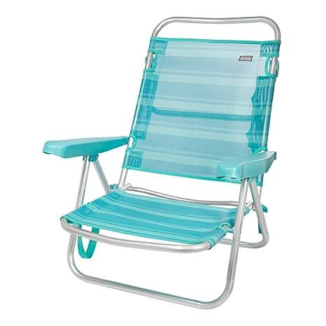 AKTIVE 53962 Silla multiposición Aluminio Beach, 108 x 60 x 78 cm, Azul Claro