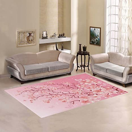 Amazon.com: InterestPrint Cherry Blossom Area Rug Floor Mat 7\' x 5 ...