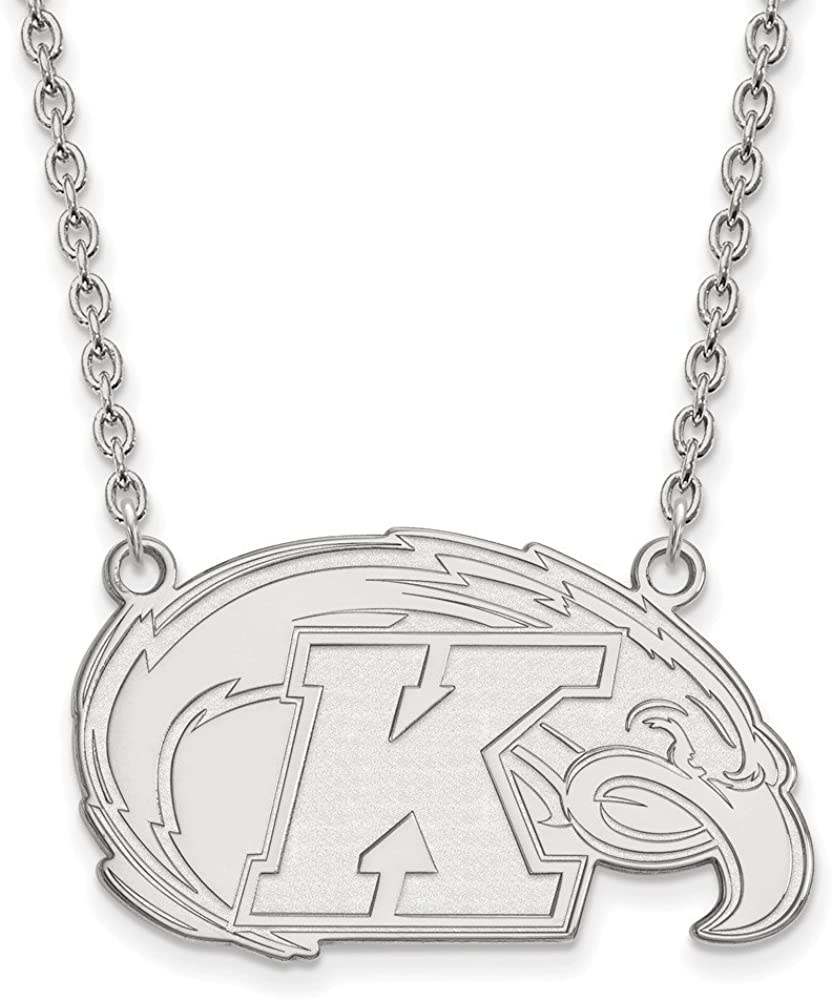925 Sterling Silver Rhodium-plated Laser-cut Wichita State University Small Pendant w//Necklace 18