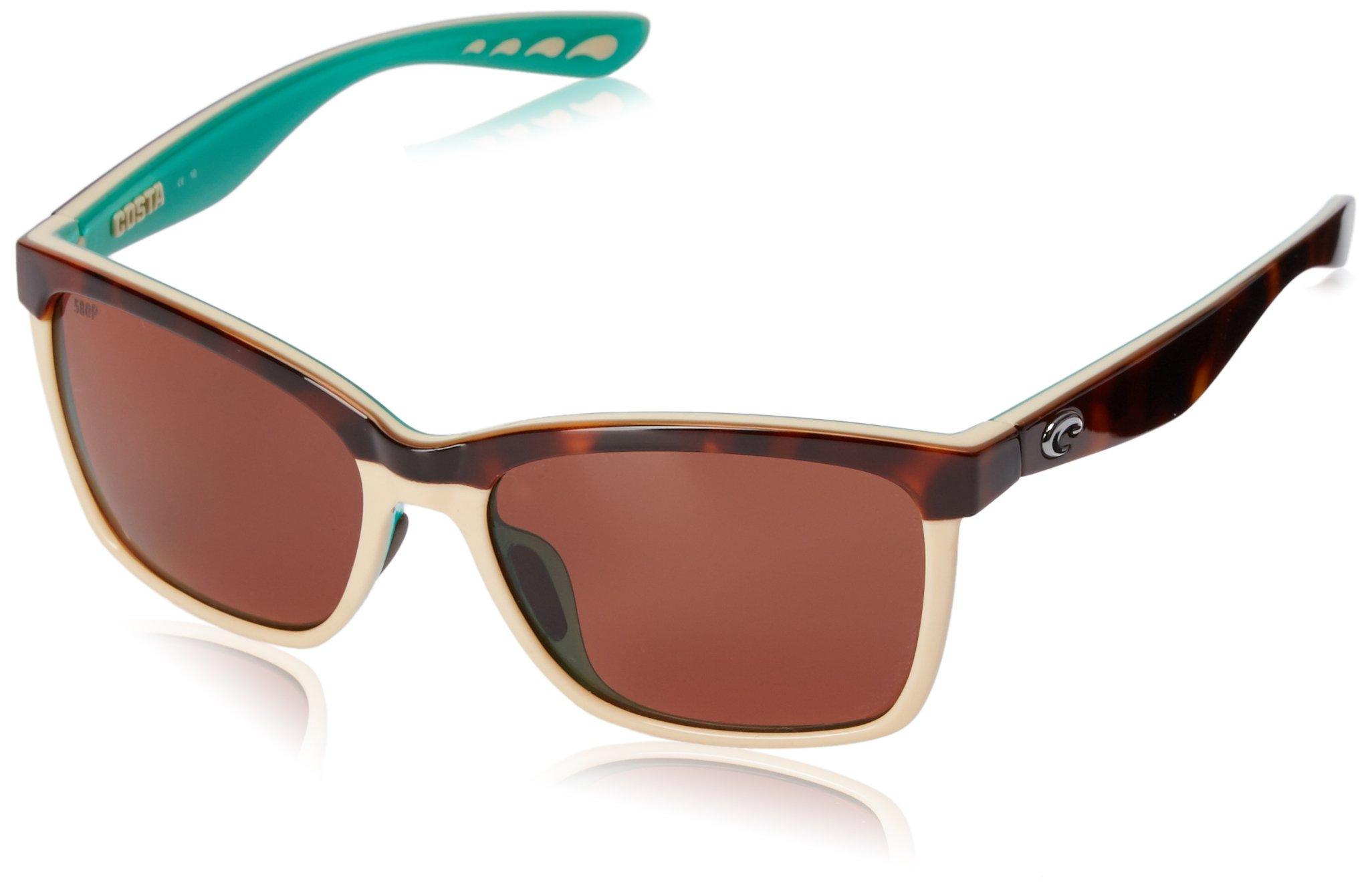 Costa del Mar Women's Anaa ANA 105 OCP Polarized Cateye Sunglasses, Retro Tort/Cream/Mint, 55.4 mm by Costa Del Mar