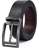 Mens Real Leather Belt Black Reversible Removable Adjustable Buckle Belt Jeans Casual Formal Belts Brown 125cm