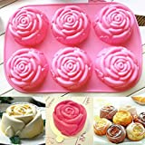 [Free Shipping] 6 Rose Silicone Muffin Cup Cake Jelly Baking Mould DIY Pudding Soap Mold // 6 rose silicone moule à muffins gâteau gelée moule de cuisson pouding bricolage savon moule