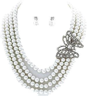 Pearl Strands Butterfly Necklace Pierced Earring Set