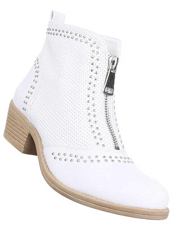 Damen Stiefeletten Schuhe Perforierte Boots Weiß 41: Amazon