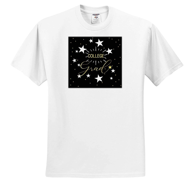 3dRose Doreen Erhardt Graduation Collection College Graduate Stars and Chalkboard Design Adult T-Shirt XL ts/_310164