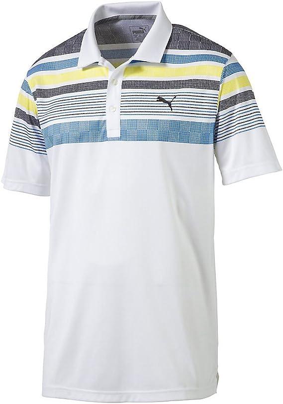 PUMA Golf 2017 Camiseta de Manga Larga para Hombre Polo de Rayas - Jersey Stripe Polo, L, Blanco, Amarillo (Bright White/Blazing Yellow): Amazon.es: Deportes y aire libre