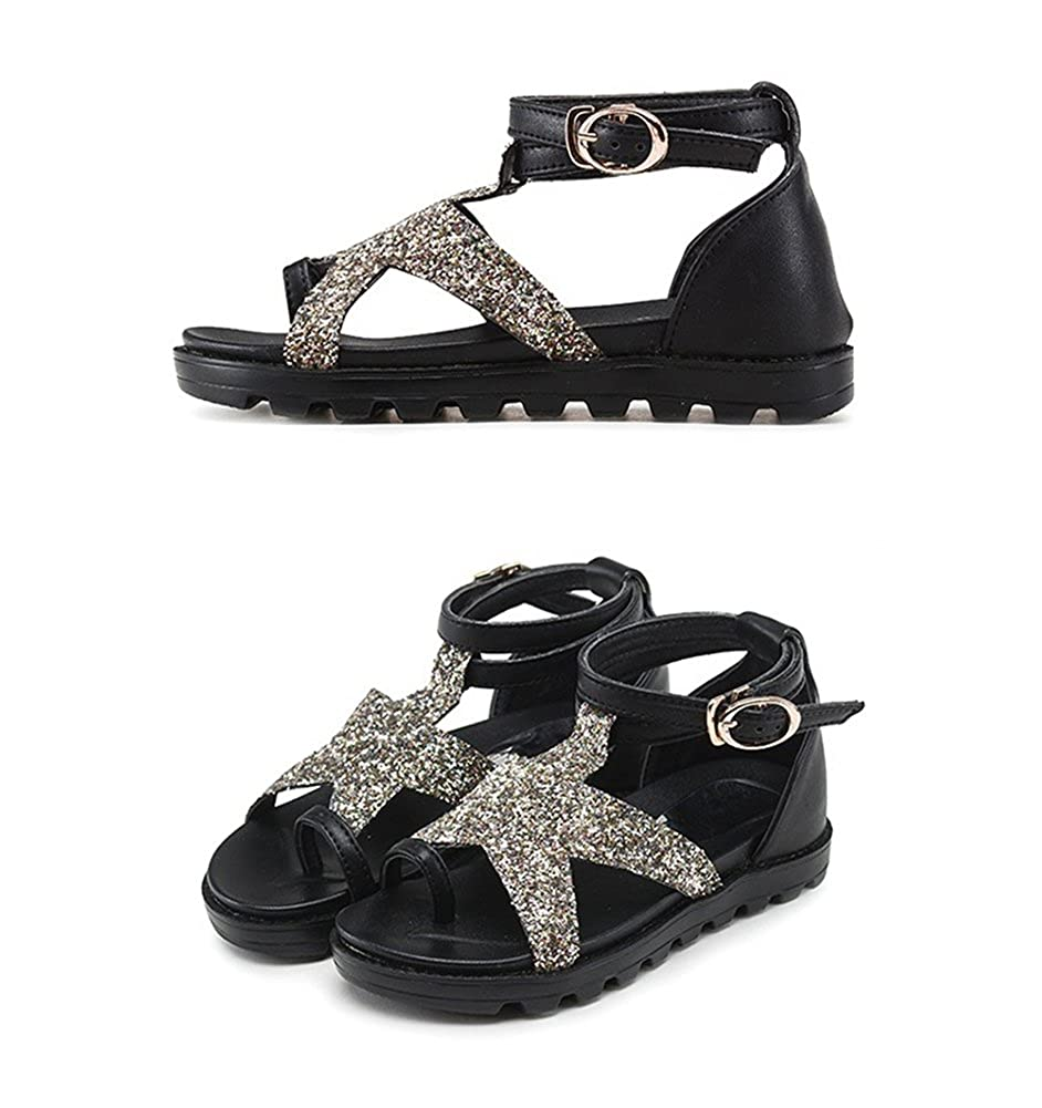 Tuoup Ankle Strap Leather Girls Sandles Little Big Kids Sandals