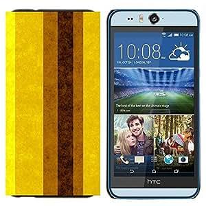 TECHCASE---Cubierta de la caja de protección para la piel dura ** HTC Desire Eye ( M910x ) ** --Tierra Brown amarillas Líneas Rayas