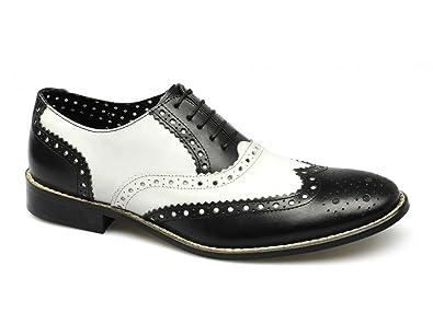 da398b0c46f553 London Brogues Gatsby Chaussures Richelieu en Cuir pour Homme Noir/Blanc -  Noir - Noir
