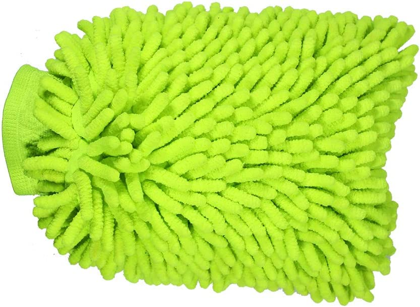 HUIQIAODS Car Wash Mitts Large Size Microfiber Wash Mitt Double Sided//High Density Chenille Scratch-Free Waterless Car Wash Glove-2 Pack Green