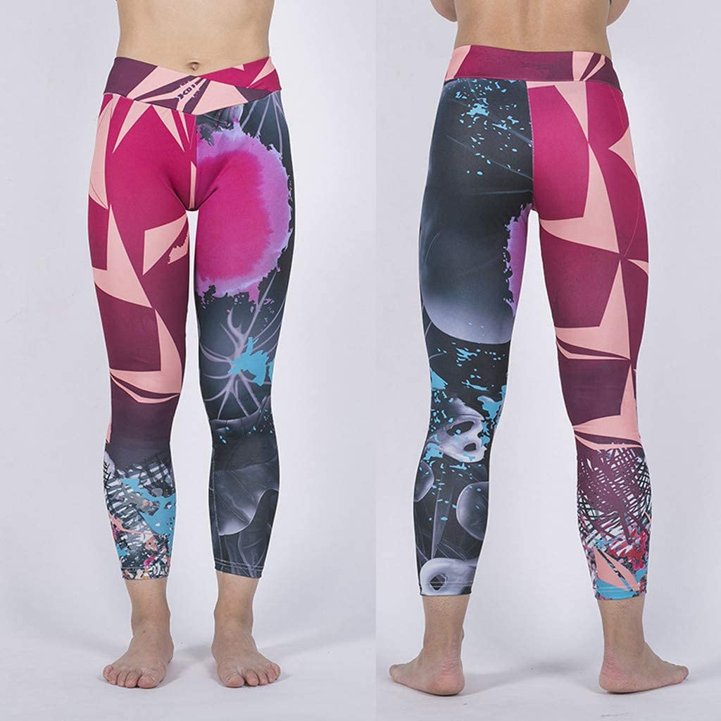 ZYUEER Leggins Yoga Pantaloni Sportivi da Donna Eleganti Vita Alta Stampato Fitness da Nove Minuti per da Cucire con Stampa Digitale