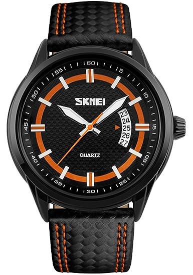 Fanmis Hombres quartz-watch negro correa de cuero reloj de cuarzo resistente al agua relojes