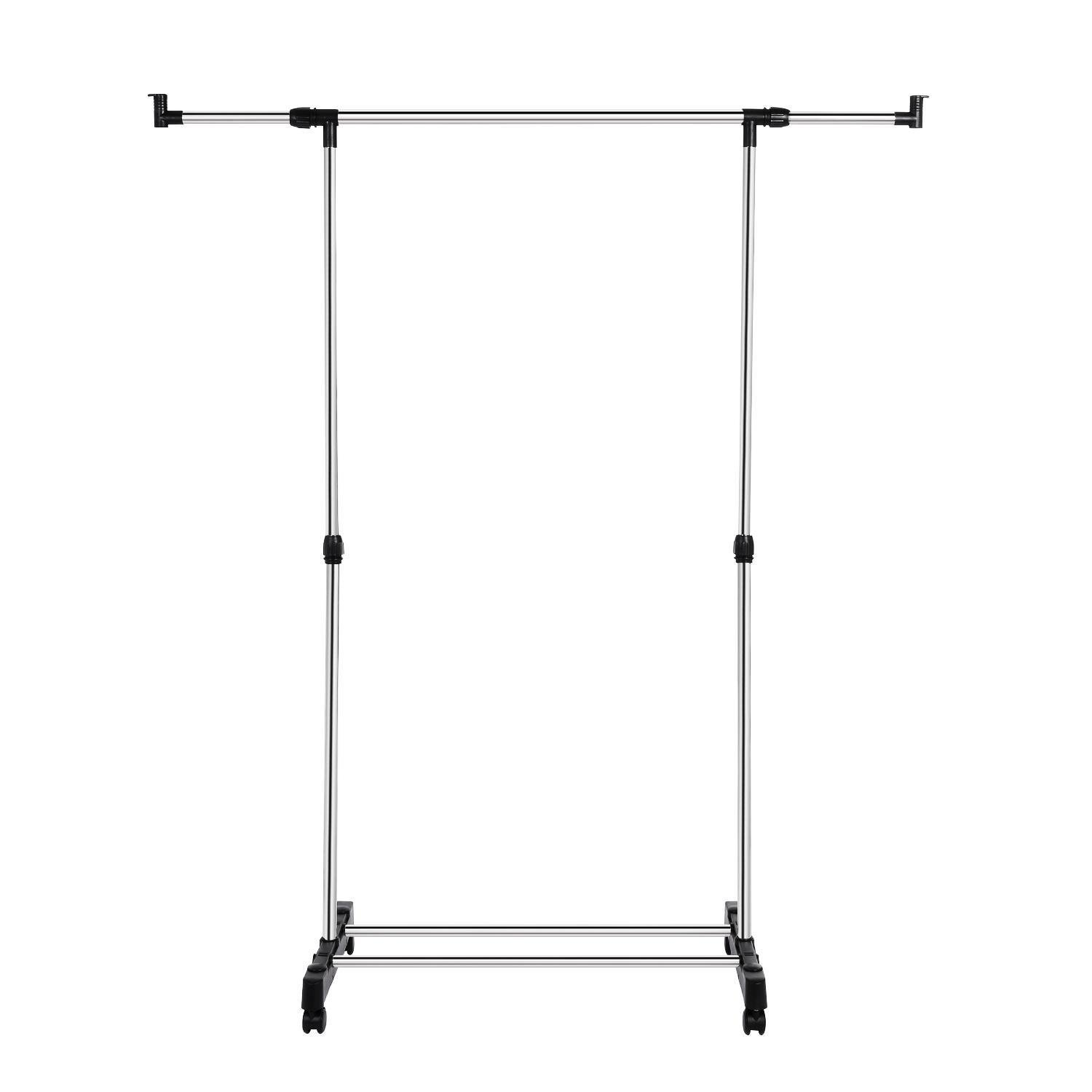 Leoneva Rolling Clothing Garment Rack with Wheels Portable Clothes Rack Stainless Steel Heavy Duty Height Adjustable