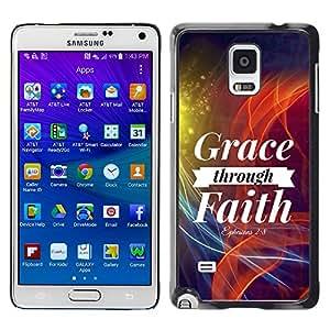 Paccase / SLIM PC / Aliminium Casa Carcasa Funda Case Cover para - BIBLE Grace Through Faith - Ephesians 2:8 - Samsung Galaxy Note 4 SM-N910F SM-N910K SM-N910C SM-N910W8 SM-N910U SM-N910