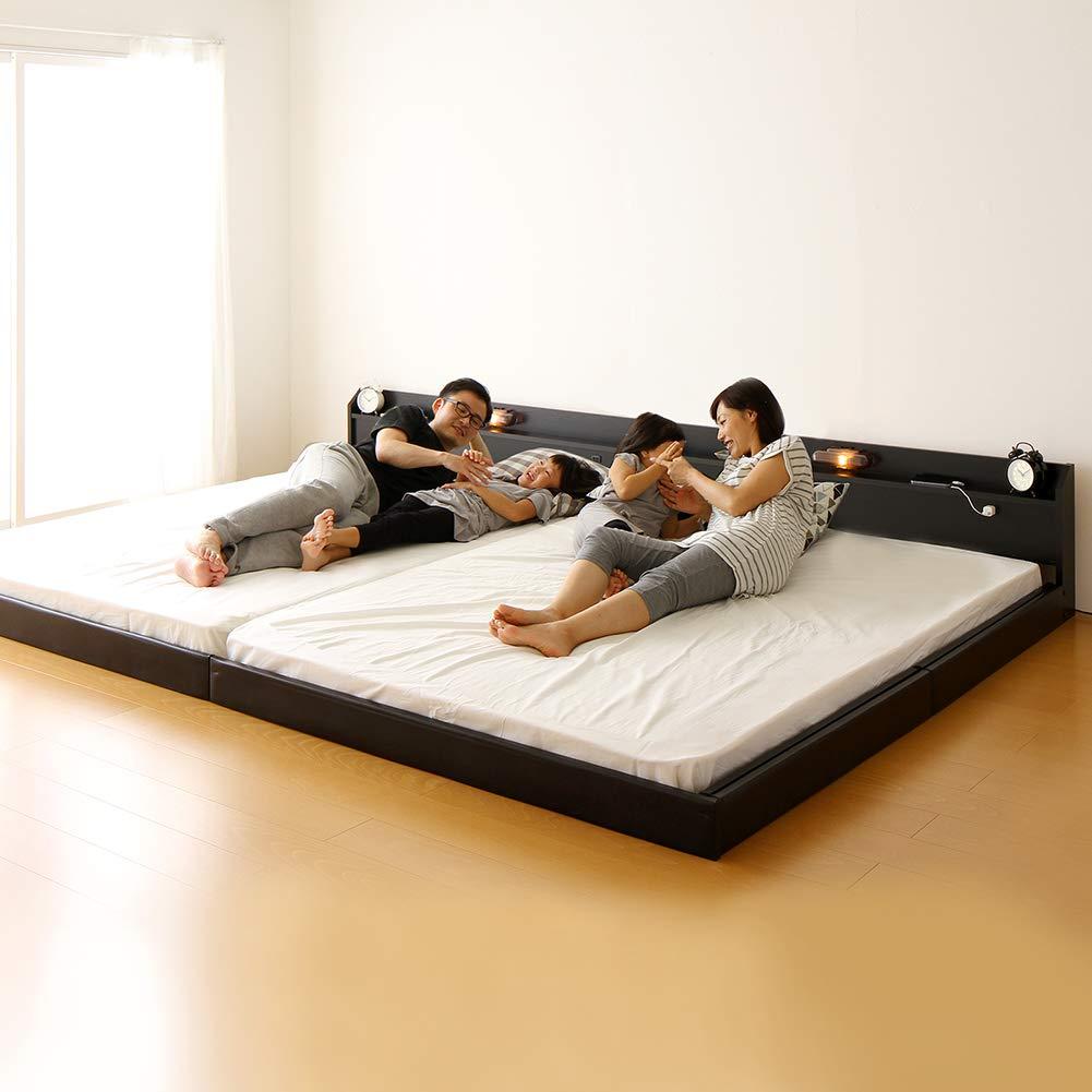 日本製 連結ベッド 照明付き フロアベッド ワイドキングサイズ240cm(SD+SD) (SGマーク国産ポケットコイルマットレス付き) 『Tonarine』 トナリネ ブラック 黒 B079316N1S